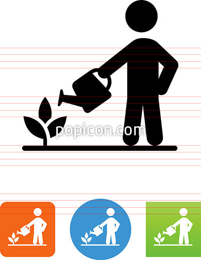 Person With Watering Can Icon