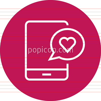 Phone With Heart Message Ringtone Outline Icon