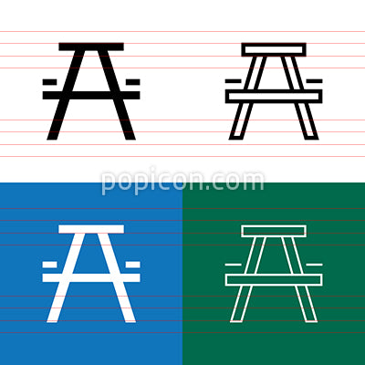 Picnic Table Icon Set