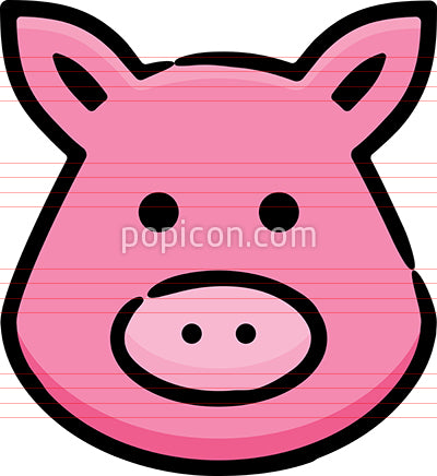Pig Head Hand Drawn Icon