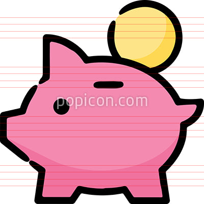 Piggy Bank Coin Hand Drawn Icon
