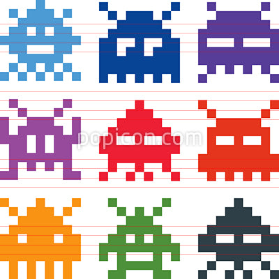 Pixel Video Game Aliens Vector Icons