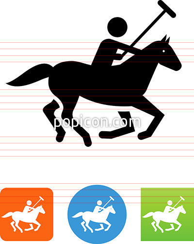 Polo Player On A Horse Icon
