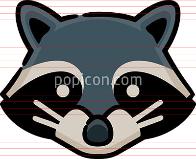 Raccoon Head Hand Drawn Icon