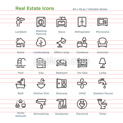 Real Estate Icons - Outline