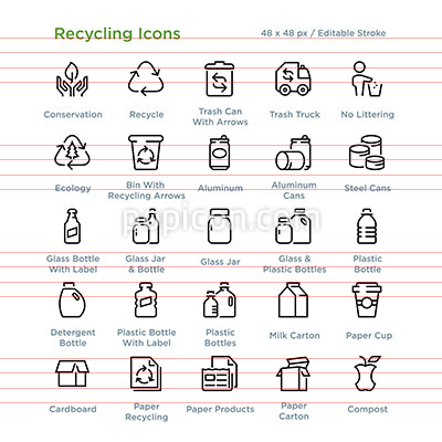 Recycling Icons - Outline