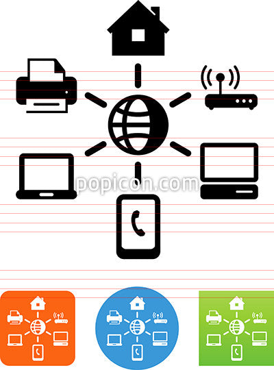 Remote Managed Services Home Network Icon