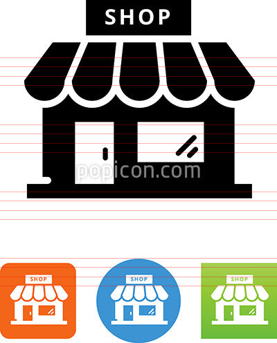 Retail Shop With Sign Icon