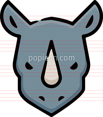Rhino Head Hand Drawn Icon