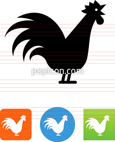 Rooster Crowing Icon