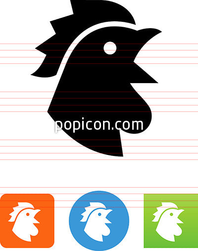 Rooster Head Crowing Icon