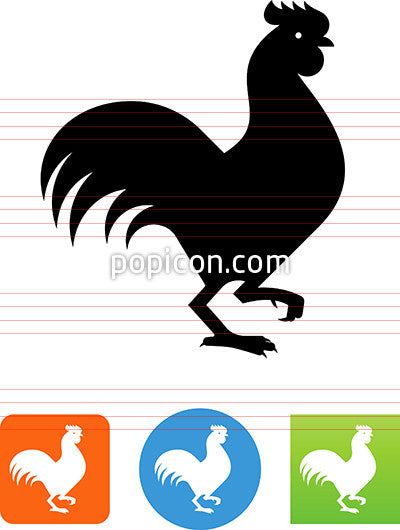 Rooster Strutting Icon