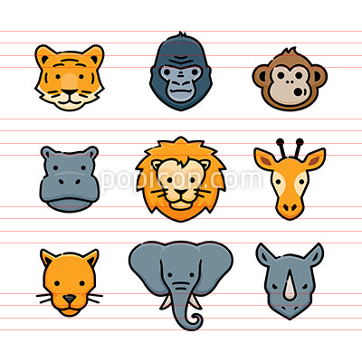 Safari Zoo Animals Vector Icon Set
