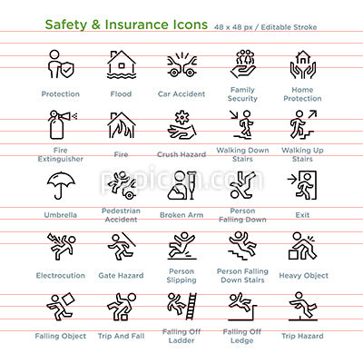 Safety And Insurance Icons  - Outline