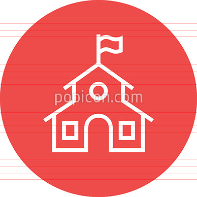 School Building Education Outline Icon