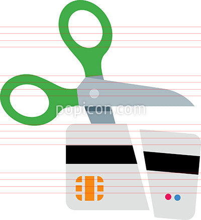 Scissors cutting a credit card icon