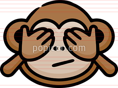 See No Evil Monkey Hand Drawn Icon