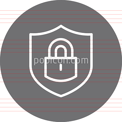 Shield With Lock Security Outline Icon