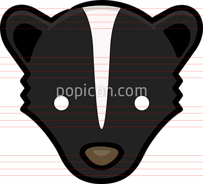 Skunk Head Hand Drawn Icon