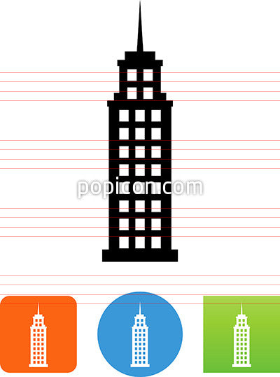 Skyscraper Building With Spire Icon
