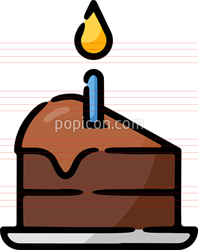 Slice Of Birthday Cake With Candle Hand Drawn Icon