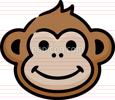 Smiling Monkey Hand Drawn Icon