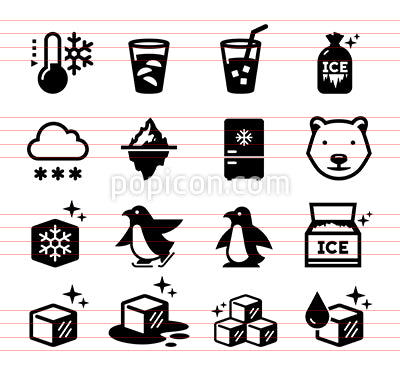 Snow And Ice Vector Icon Set
