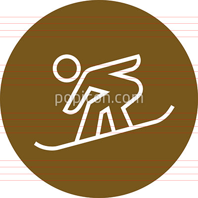 Snowboarding Shredder Rider Outline Icon