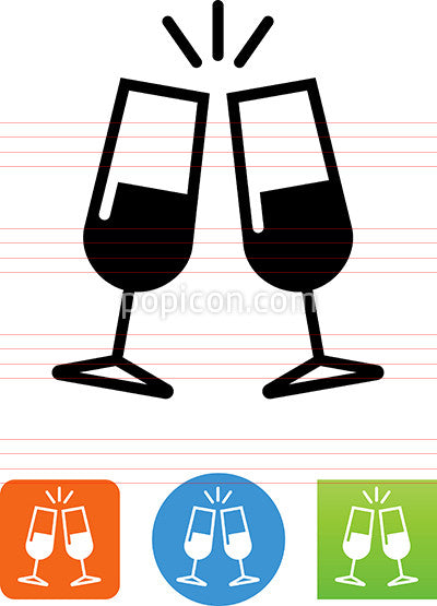 Sparkling Champagne Glasses Icon