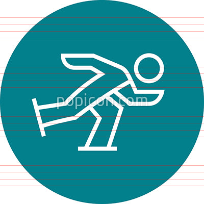 Speed Skating Racer Outline Icon