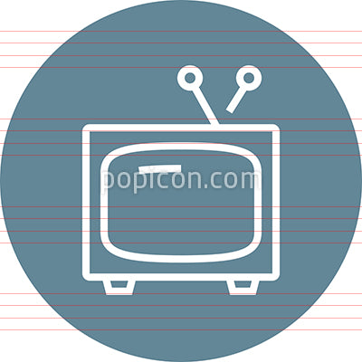 TV Set With Antenna Outline Icon
