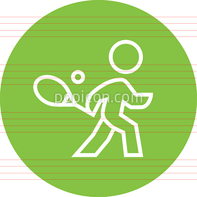 Tennis Player With Racket Outline Icon