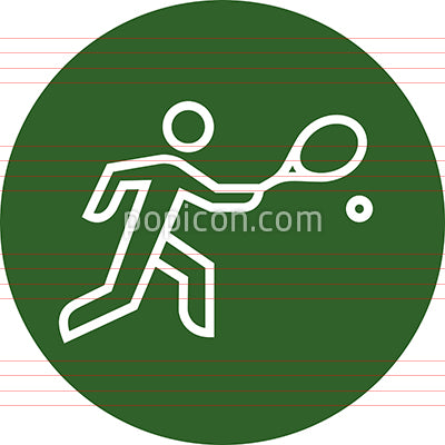 Tennis Player With Racket Hitting Ball Outline Icon