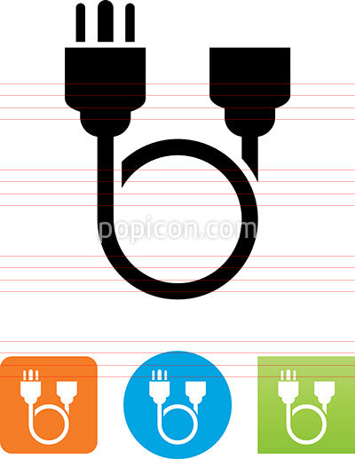 Three Pronged Power Cable Loop Icon