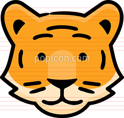 Tiger Head Hand Drawn Icon