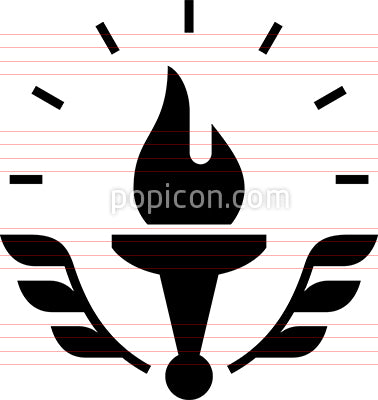 Torch With Laurel Vector Icon
