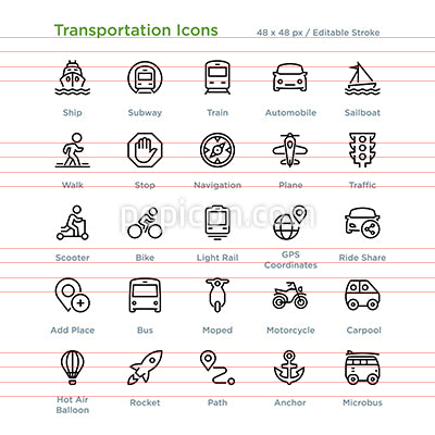 Transportation Icons - Outline