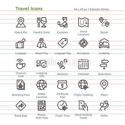 Travel Icons - Outline