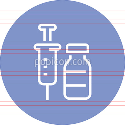 Vaccine Needle And Vial Outline Icon
