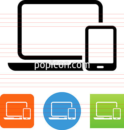 vector laptop and smart phone icon popicon