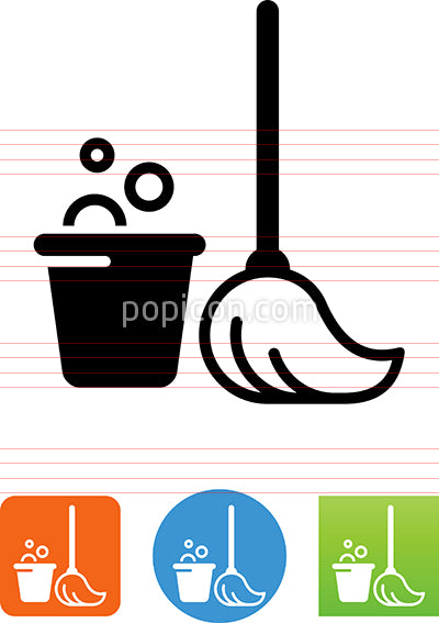 Vector Mop And Bucket Icon