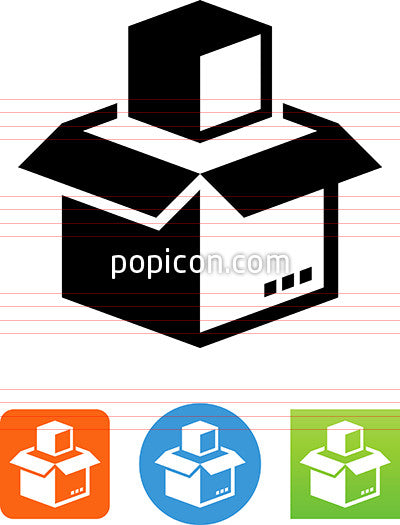 Vector Open Box With Content Icon