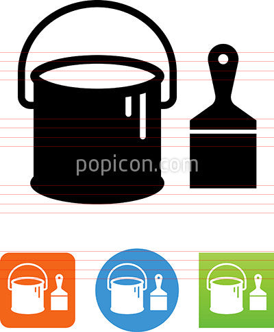 Vector Paint Bucket With Paint Brush Icon