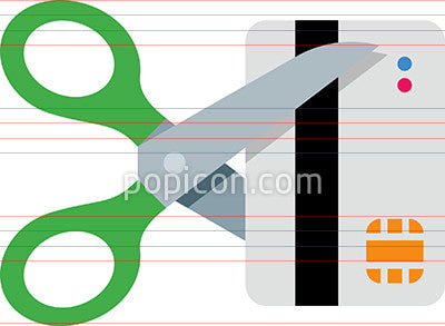 Vector Scissors Cutting Credit Card Icon