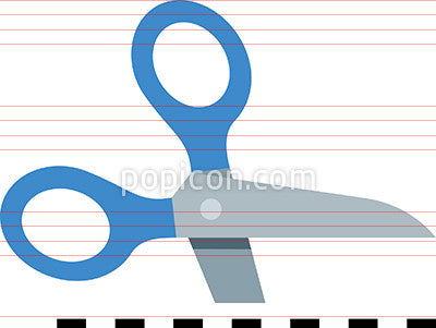 Vector Scissors Cutting Dashed Line Icon