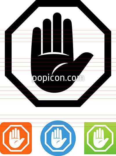 Vector Stop Sign With Hand Icon