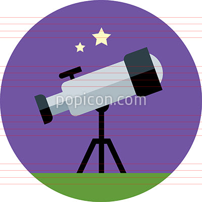 Vector Telescope Icon On Background - Flat Color Series