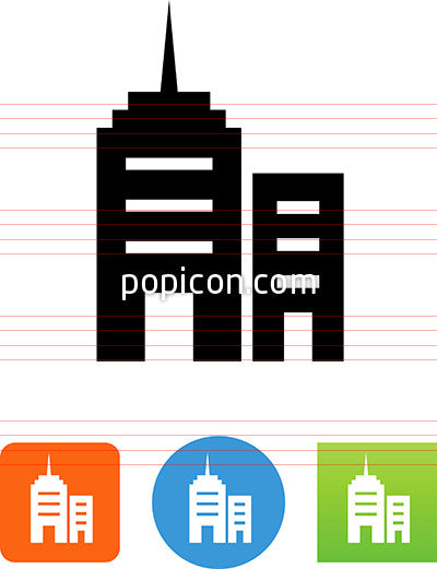 Vector Two Office Buildings Icon