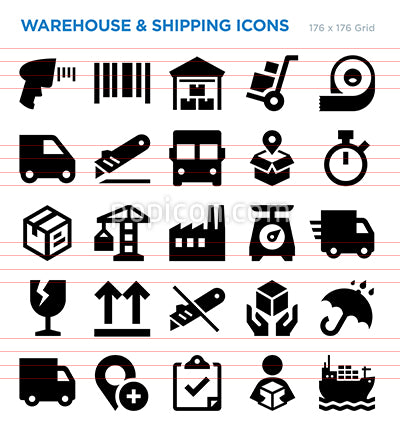 Warehouse And Shipping Vector Icon Set