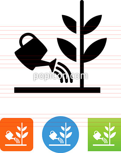 Watering Can With Crops Icon